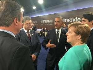 Petro Porosheko, Barak Obama, Justin Trudeau, Barbara Merkel, and David Cameron at NATO's Warsaw Summit in July 2016 (Image: Svyatoslav Tseholko/Facebook)