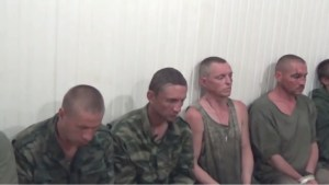 Mercenaries from the 9th Infantry Regiment of Russia's hybrid military force in the Donbas captured in firefight on June 27, 2016 being interrogated by the Ukrainian Security Service. They stated that they were commanded by officers from the regular Russian army and that a mercenary private's monthly pay in their unit is 15000 rubles or about $250 U.S. dollars. (Image: video screen capture)
