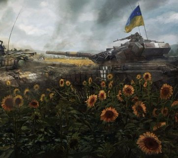 Painting by Slovakian artist Rado Javor pictures the heroism of Artem Abramovych, a 24-year old tank commander from Zhytomyr, who in the summer of 2014 deliberately collided his older T-64 into the T-72 of the Russian aggressors to save the retreating Ukrainian soldiers near the village Nikiforivka in Donetsk oblast. In the collision, the tanks detonated and were completely destroyed, with this young man losing his life. He was posthumously awarded with the order of Hero of Ukraine.