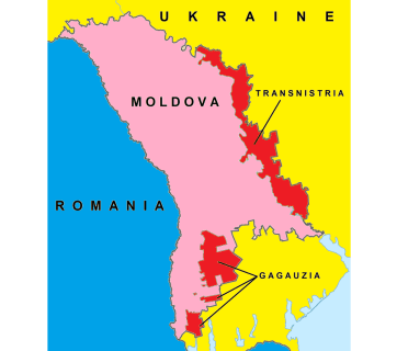 Map of Moldova showing the zones of a frozen military conflict with Russia in Transnistria/Transdniestria and a resolved conflict in Gagauzia in red.