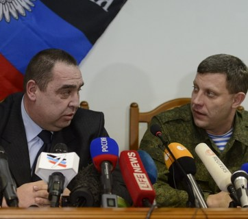 "Ihor Plotnitsky and Oleksandr Zakharchenko, the heads of the Russian puppet administrations in the occupied territories of Luhansk and Donetsk oblast, so-called ""LNR"" and ""DNR,"" some time before the Plotnitsky assassination attempt (Image: TASS)"