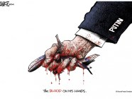 Putin. MH17: The blood on his hands. (Political cartoon by Ramirez, 2014)