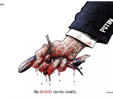 Putin. MH17: The blood on his hands. (Political cartoon by Ramirez, 2014)