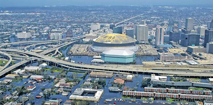 Photo of New Orleans, flooded in the aftermath of Hurricane Katrina, as appears in Russian military paper discussing destroying America