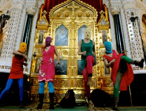 Members of Pussy Riot in their February 2012 performance-protest at the Cathedral of Christ the Savior, Moscow. (Image: MoMA PS1)