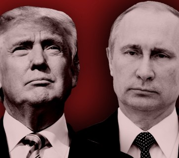 Trump and Putin. (Photo illustration by Slate. Photos by Aleksey Nikolskyi/Getty Images and Jim Watson/Getty Images.)