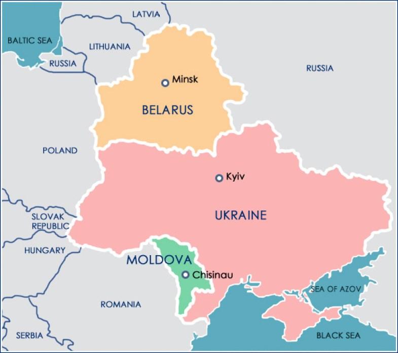 Belarus, Ukraine, Moldova map