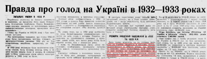 The title and excerpt of the article by S.Sosnovyi about the Holodomor in Ukraine