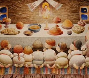 The traditional supper on Christmas Eve is the cornerstone of a Ukrainian Christmas. Painting by Viktoriya Protsiv