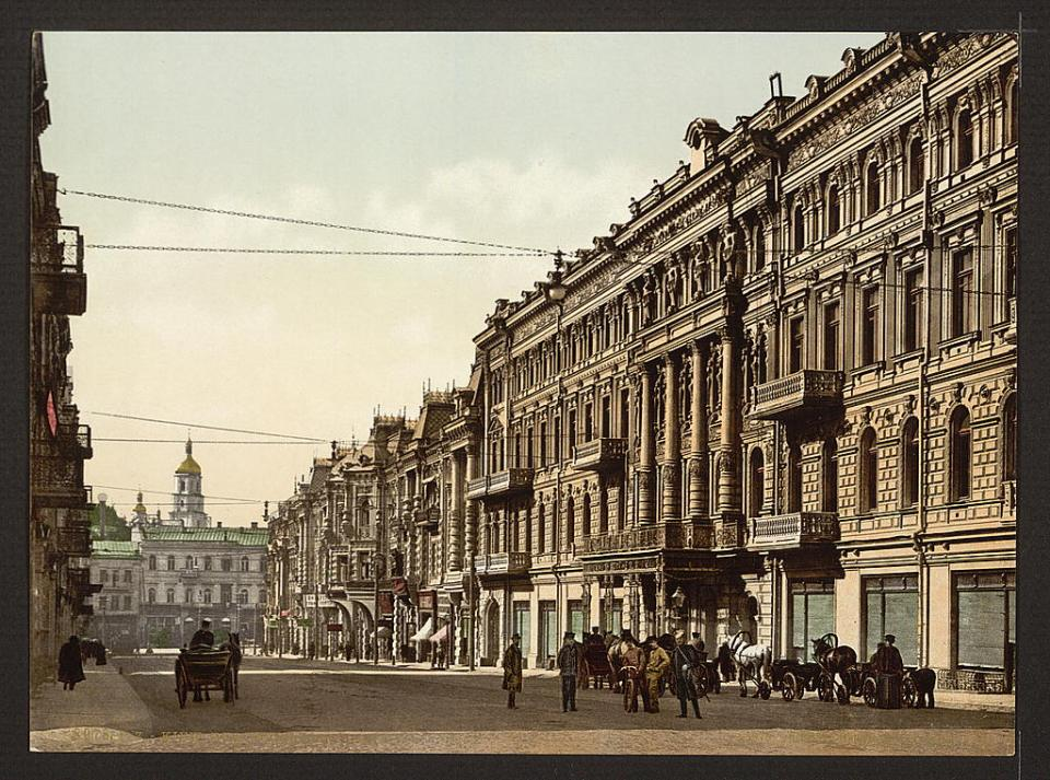 Mykolayivska Street in Kyiv, Ukraine circa 1890-1900. Image: Detroit Publishing Company via the Library of Congress