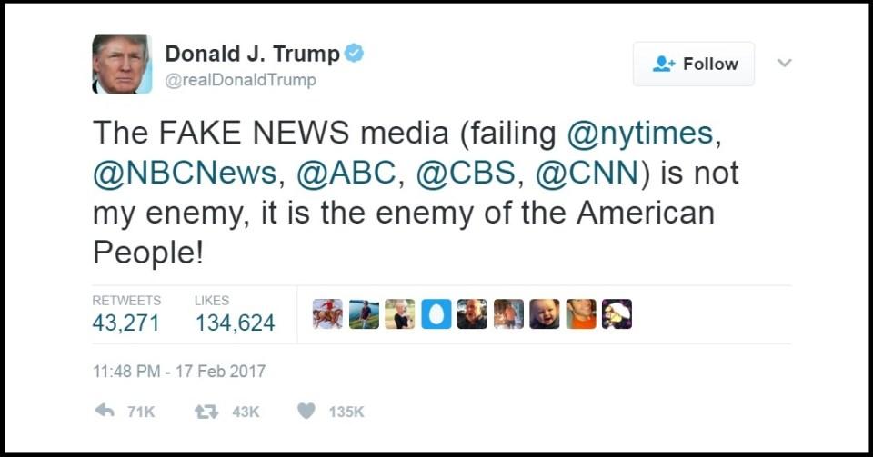 Donal Trump's enemy of the people tweet