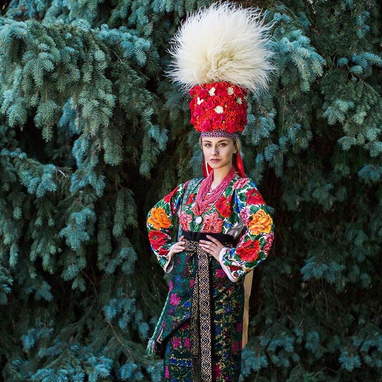 Iryna Zhytariuk, Miss Ukrainian Canada 2016, wearing a traditional festive (wedding) dress and elaborate headdress from Northern Bukovyna, Western Ukraine. Photo by Julia Merk
