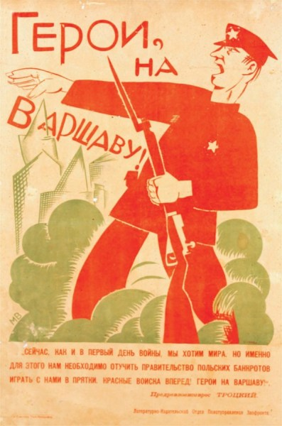 Soviet poster calling for the march on Warsaw while alleging that Russia seeks for peace