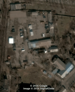 "Base for military unit 3057 in Mariupol, located at 47°5'34""N, 37°31'46""E. Source: Google Earth/Digital Globe. Source: DFRLab"