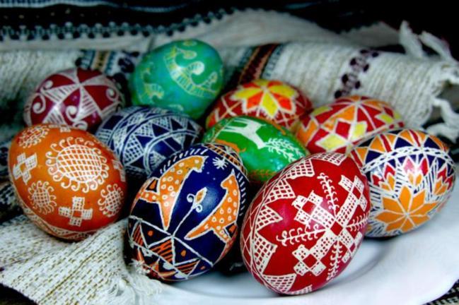Ukrainian pysanka Easter eggs.
