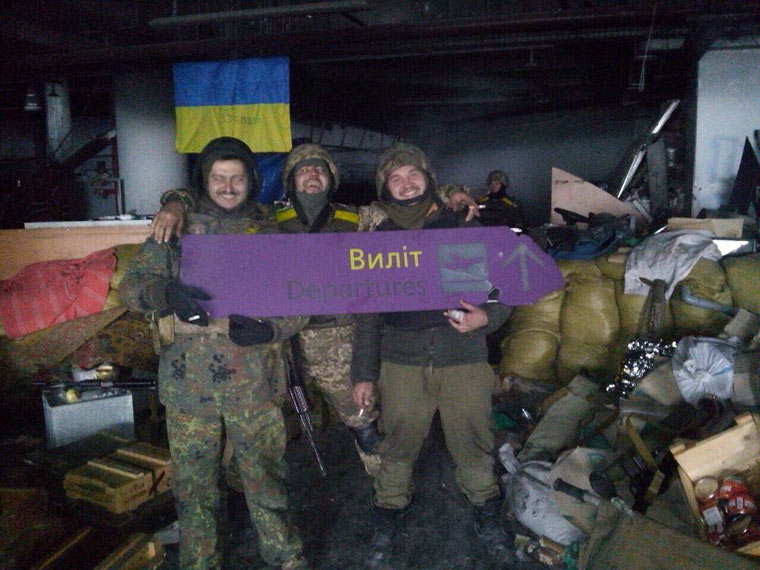 'Cyborg' Ivan Trembovetskyi in the old terminal of Donetsk Airport. Photo: focus.ua