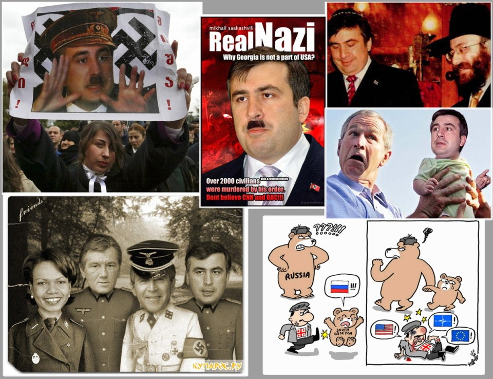 Pieces of Russian anti-Georgian propaganda in 2008, labeling Georgia as aggressor Nazi puppet-state.