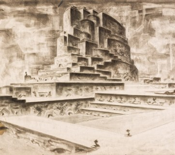 """A city of the future. An architectural fantasy from the series of works by G. N. Gaman-Gamon titled """"The USSR in the Year of 2001"""" he completed in the 1950s and 1960s. (Image: marhi.ru)"""