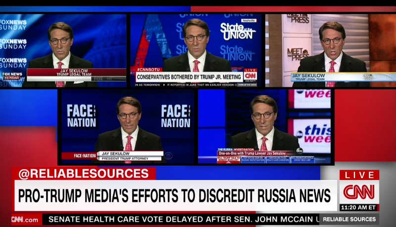 Trump criminal defense attorney Jay Sekulow does ALL the Sunday News shows, CNN, July 16, 2017 (screen grab)