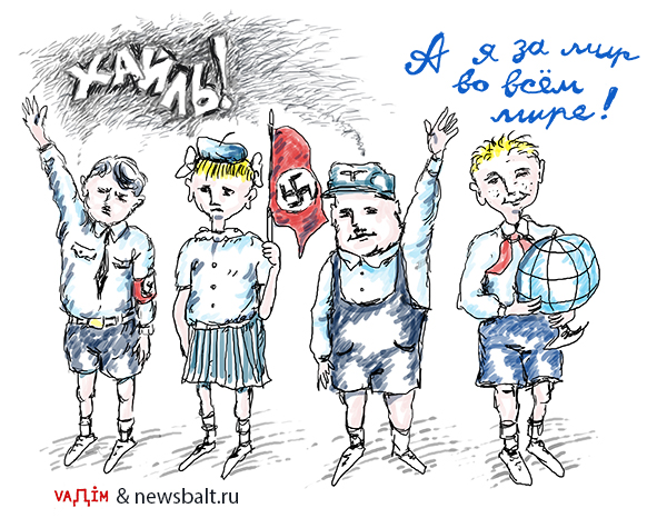 "Russian anti-Estonian cartoon attacks Estonian schools as an alleged hotbed of Nazism as opposed to Russian/Soviet-style ""peace education."" Source: newsbalt.ru"
