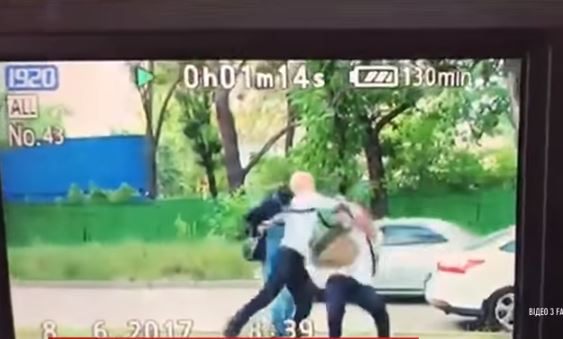 Shabunin punching Filimonov. Snapshot from TSN video