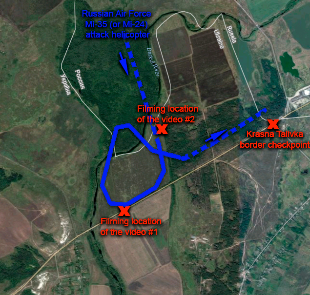 Rough geolocation of two videos showing the Russian Mi-25 (or Mi-24) flying over the Ukrainian territory in Luhansk Oblast in July 2014. Note: The border line is shifted left on the satellite image, the real border runs along Derkul river. Geolocation: Euromaidan Press. Source: Google Maps