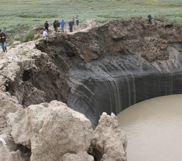 One of the craters from methane gas explosions that appeared as a result of permafrost melting in the Russian Arctic caused by the global warming (Image: riafan.ru)