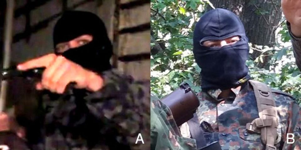 "A: ""Dnipro guerilla"". B: ""ROD neo-Pagan."" Combined image: BBC Russian"