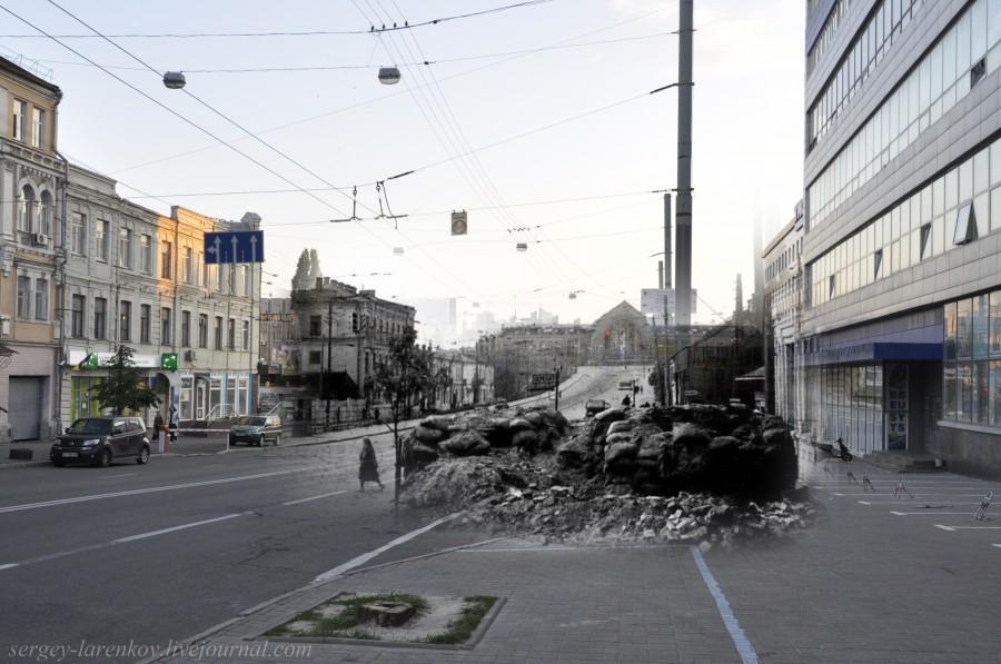 Kyiv 1941/2012. Barricade on Kominterna Street (nowadays Symon Petliura Street). Collage: Sergey Larenkov (Livejournal)