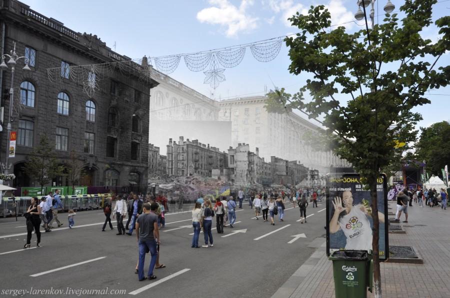 Kyiv 1943/2012 Khreschatyk Street. Collage: Sergey Larenkov (Livejournal)