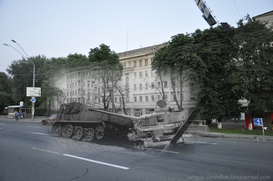 Kyiv 1943/2012. A downed German armor vehicle on Brest-Lytovsk Highway (now Prospekt Peremohy Avenue). Collage: Sergey Larenkov (Livejournal)