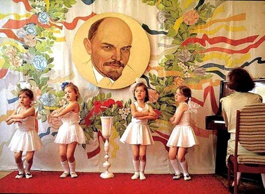"A Soviet kindergarten. In the USSR, the paternalist figure of ""grandfather Lenin"" was coming into your life at kindergarten and haunted you for the rest of your life. Photograph: mikhaelkatz.livejournal.com"