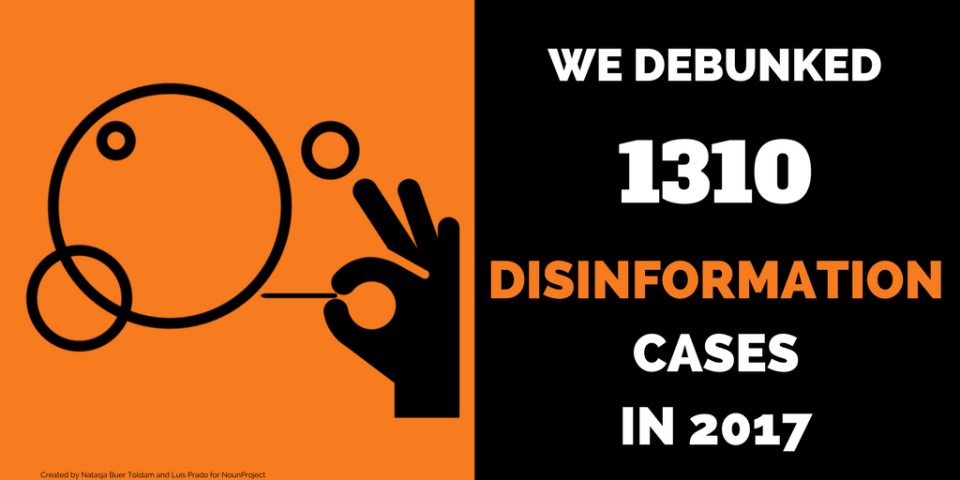 EU vs Disinfo debunked 1310 cases of disinformation in 2017.