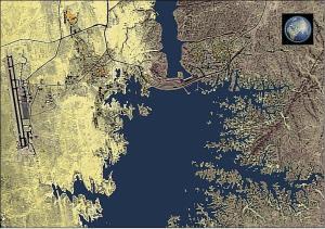Sample Sich-2 image of a portion of Lake Nasser in Egypt observed on 17 September 2011. Source