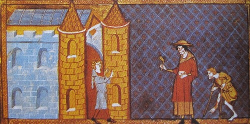 Two lepers. Medieval miniature. Source: Wikipedia
