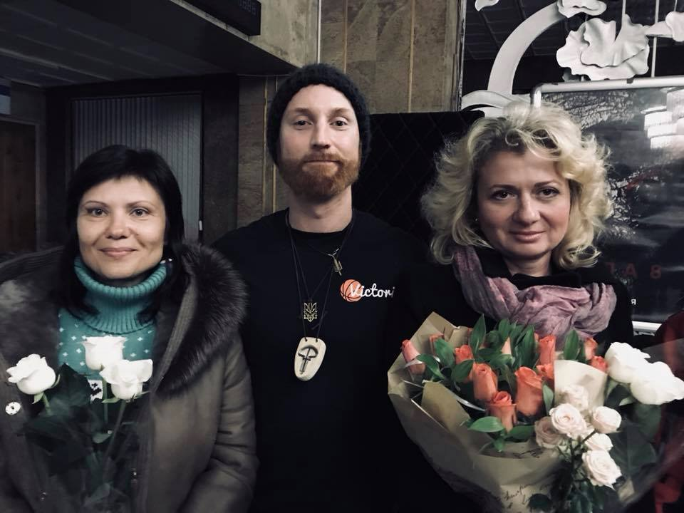 "Stefan with ""war mothers"" Svitlana Serotin and Halyna Honcharenko"