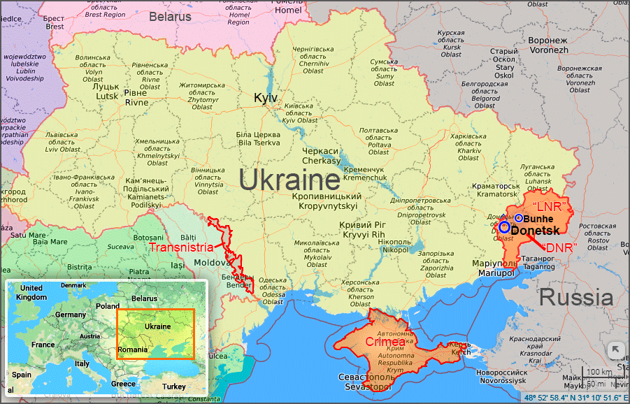 Bunhe on the map of Ukraine. Current zones of Russia's occupation marked in red. Map based on layers by Liveuamap.com and Google Maps.