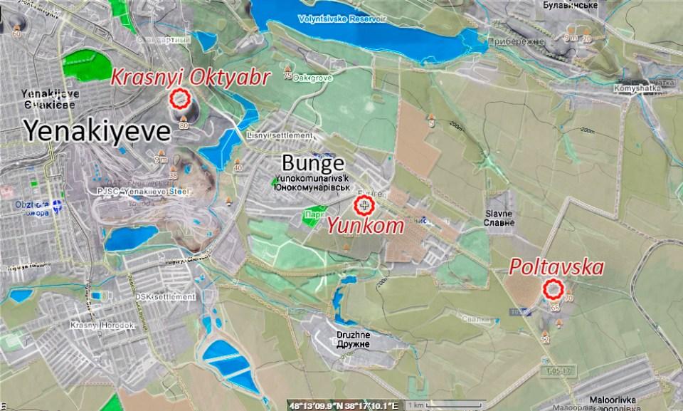 Hydraulically interconnected coal mines - Krasnyi Oktyabr (or Chervonyi Zhovten), Yumkom, Poltavska. All three shut down. Layers: Google Maps, Google Terrain, OSM, Wikimapia.