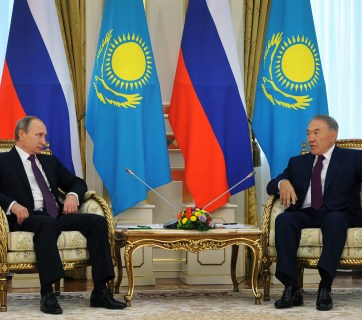 Vladimir Putin of Russia and Nursultan Nazarbayev of Kazakhstan