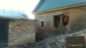 A house damaged on 12 May in occupied Horlivka. Twitter/GirkinGirkin