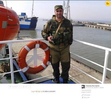 "Senior driver of the 3rd detachment of the 1st automobile company (for ammunition supply) of the logistic support battalion Aydemir Muftafaev aboard ""Nikolai"" Aksyonenko in port ""Kavkaz."""