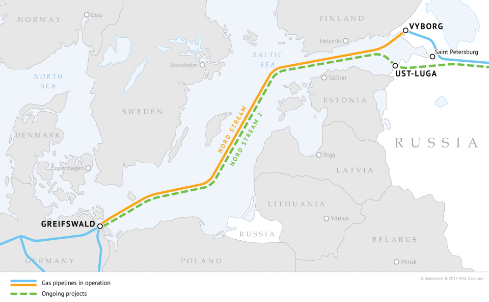 Russian gas pipelines Nord Stream (Nord Stream 1) and Nord Stream 2 (under construction). Image: gazprom.com