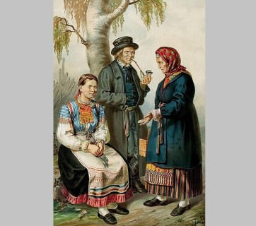 Ingermanlanders / Ingrian Finns (Image: Pauly, Gustav Theodor. Description ethnographique des peuples. Saint Petersbourg: Bellizard, 1862 via Wikimedia)