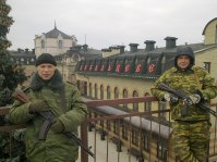 Oleksandr Shumilov from Kharkiv Oblast (R) at the Debaltseve railway station.