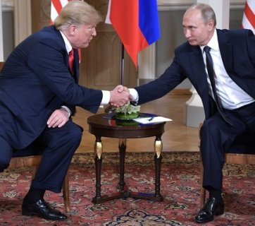 Donald Trump and Vladimir Putin before their one-on-one (with translators only) meeting in Helsinki, Finland on July 16, 2018 (Image: kremlin.ru)