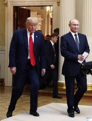 Trump and Putin after their two-hour one-on-one (with translators only) meeting in Helsinki, Finland on July 16, 2018 (Image: social media)