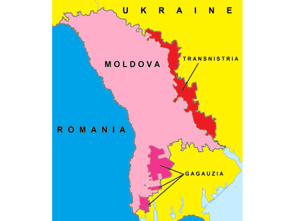 Map of Moldova showing the zones of a frozen military conflict with Russia in Transnistria/Transdniestria and a resolved conflict in Gagauzia.