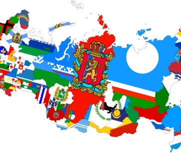 Map of the Russian Federation as a mosaic of regional flags (Image: afterempire.info)