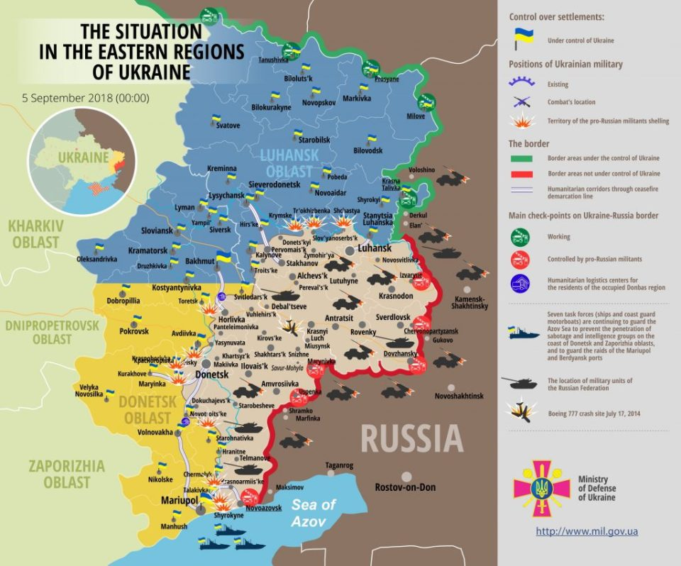 The Situation in the Eastern Regions of Ukraine on September 5, 2018 (Image: mediarnbo.org)