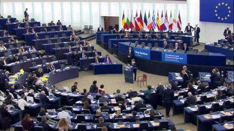The EU parliament during the Sakharov Prize awarding ceremony. Photo: screenshot from official broadcast
